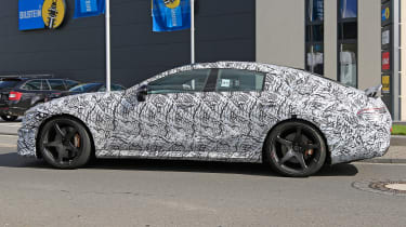 Mercedes AMG GT four-door spy shot side