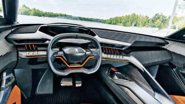 Emphasis inside the Quartz is on sporty design, although similarities to the Exalt's cabin are clear, with both featuring developments of Peugeot's i-Cockpit interface.
