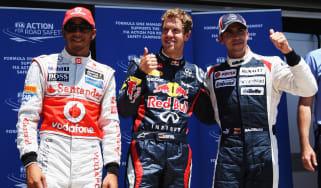 Lewis Hamilton, Sebastian Vettel and Pastor Maldonado