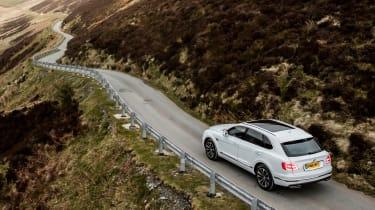 Bentley Bentayga Diesel - Ice white 2017 rear country road