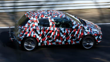 Toyota Yaris spies - side tracking far