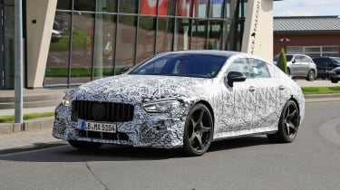 Mercedes AMG GT four-door spy shot front quarter
