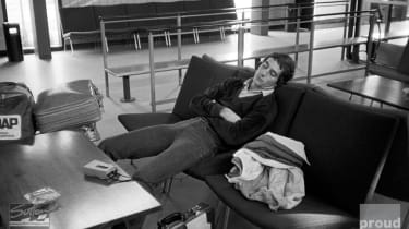 Ayrton Senna finds time to relax at the airport before flying from England to Denmark