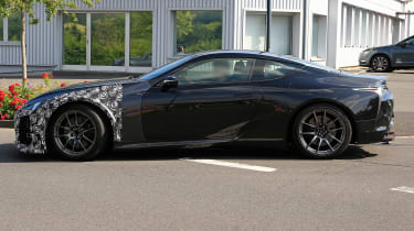 New Lexus LC F coupe spy shots - side