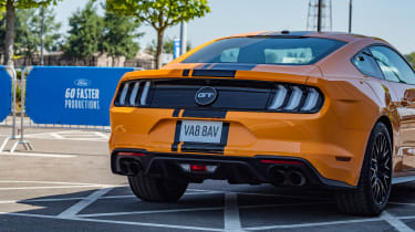 Orange Ford Mustang rear