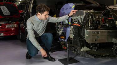 Grampian Transport Museum - James examining Nissan Leaf