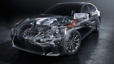 Lexus LS 500h powertrain fadeaway
