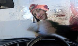 winter icy windscreen