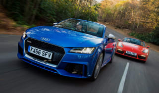 Audi TT RS vs Porsche 718 Boxster S - header