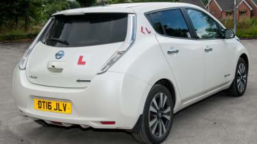 EV driving school - Nissan Leaf - white rear