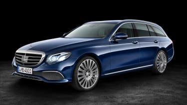 Mercedes E-Class Estate - blue front quarter