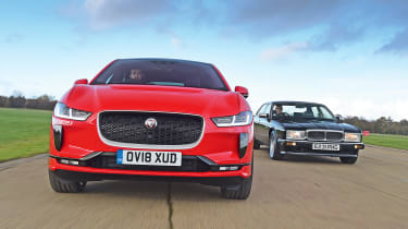Jaguar XJ40 vs Jaguar I-Pace - full front