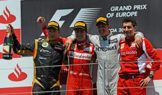 Kimi Raikkonen, Fernando Alonso, Michael Schumacher and Andrea Stella