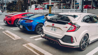 Honda Civic Type R and NSX parked