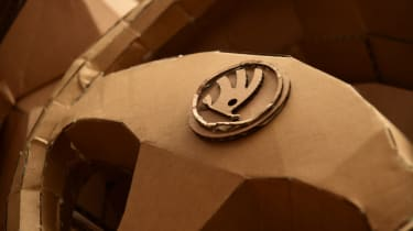 Cardboard Skoda Karoq steering wheel