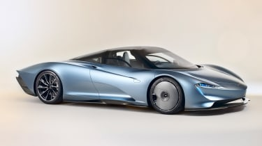 With a central driving position, the McLaren Speedtail gives just a little nod to the iconic F1. It's the fastest accelerating McLaren model to date and uses the full force of the 1,035bhp petrol-electric powertrain to push past 250mph.