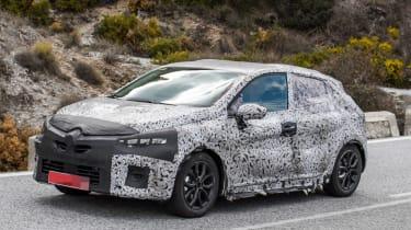 2019 Renault Clio spy shot front quarter