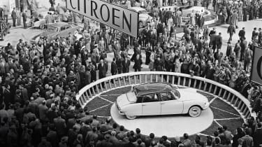The DS made its first, stunning public appearance at a crowded Paris Motor Show in 1955. Thousands of people squeezed on to Citroen's stand, eager to catch a glimpse of the futuristic new car. What they saw when the covers were removed
