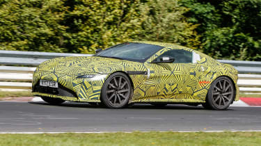Aston Martin Vantage spy shot side quarter