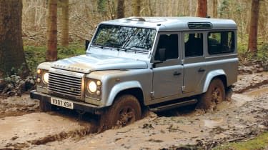 Land Rover Defender front three-quarters