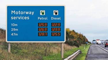 Motorway fuel price signs