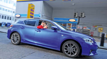 Lexus CT 200h at a petrol station