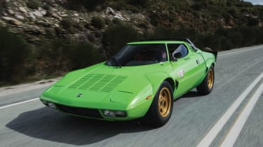 This Lancia Stratos HF Stradale is a rare example of the production version of a three-time rally sensation, finished in the original pistachio green. It's a largely unrestored version with relatively low mileage.