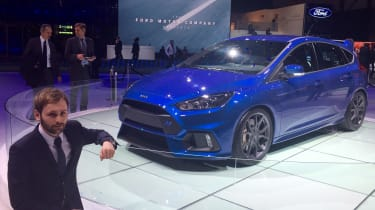 "Fast Ford's are back and the Blue Oval rolled out the big guns at Geneva. The new&nbsp;<a href=""https://www.autoexpress.co.uk/ford/focus/89077/new-ford-focus-rs-unveiled-at-geneva-motor-show-2015"">Focus RS</a>&nbsp;forms part of the br"