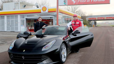 Kimi Raikonnen meets Chris Ebbs and a Ferrari F12