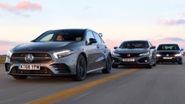Mercedes-AMG A 35 vs Honda Civic Type R vs Volkswagen Golf R