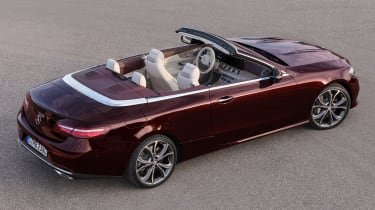 Mercedes E-Class Cabriolet 2017 - burgundy overhead roof down