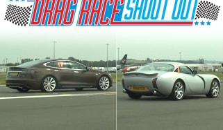 Tesla Model S vs TVR Tuscan drag race