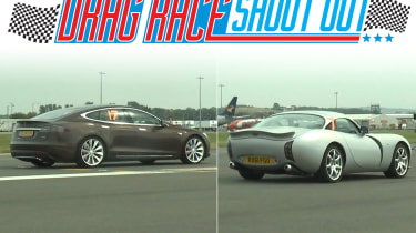Tesla Model S vs TVR Tuscan drag race