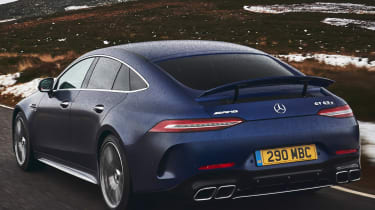 mercedes-amg gt 4-door tracking rear quarter