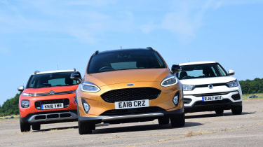 Ford Fiesta Active vs Citroen C3 Aircross vs SsangYong Tivoli - head-to-head