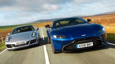 Aston Martin Vantage vs Porsche 911 GTS - header