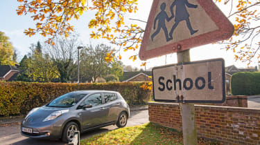 Nissan Leaf feature - school sign
