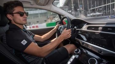 Jaguar I-Pace vs Tesla Model X P100D launch race interior