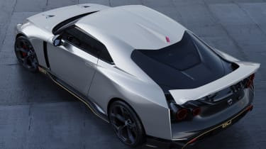 Nissan GT-R50 by Italdesign - silver rear 3/4 aerial static