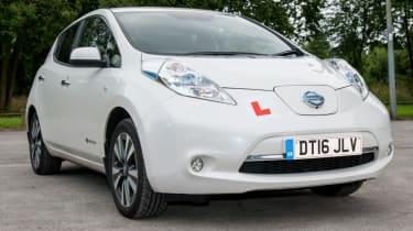 EV driving school - Nissan Leaf - white front