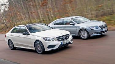 Mercedes E-Class vs Skoda Superb - front