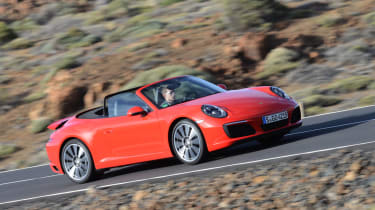 Porsche 911 Carrera S 2015 front tracking red