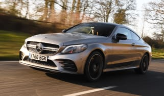 mercedes-amg c 43 coupe tracking front quarter
