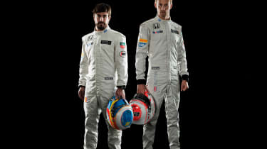 Jenson Button and teammate Fernando Alonso.