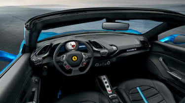 Focused interior layout is taken from 488 GTB, and with top down, driver can savour sound of the twin-turbo V8