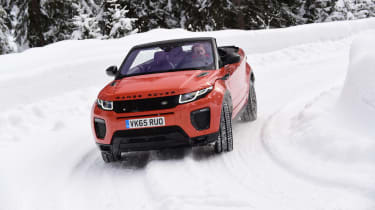 Range Rover Evoque Convertible review - snow front cornering
