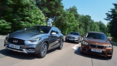 Infiniti QX30 vs Mercedes GLA vs BMW X1 - header