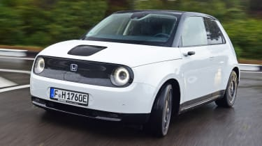 Honda e - front cornering