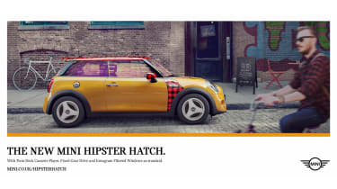 """MINI chose to target its 2016 April Fools effort at the growing 'hipster' market, offering us the """"world premier of the MINI Hipster hatch"""". The spoof car features 'Instagram filtered windows', 'a twin-deck cassette player' and 'stonew"""