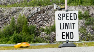 Ford GT Norway road trip - speed limit sign
